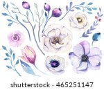 watercolor boho flower set.... | Shutterstock . vector #465251147