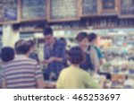 blurred image of waiters taking ... | Shutterstock . vector #465253697
