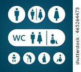 restroom male female pregnant... | Shutterstock .eps vector #465264473