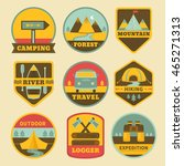 set of vintage camping logos.... | Shutterstock .eps vector #465271313