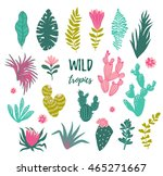 collection of tropical plants ... | Shutterstock .eps vector #465271667