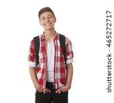 cute teenager boy in red... | Shutterstock . vector #465272717