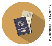 passport and ticket flat icon | Shutterstock .eps vector #465285443
