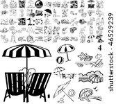 beach set of black sketch. part ... | Shutterstock .eps vector #46529239