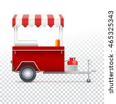 red fast food hot dog cart.... | Shutterstock .eps vector #465325343