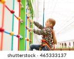 little girl climbing the wall...   Shutterstock . vector #465333137