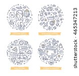 set of doodle line vector... | Shutterstock .eps vector #465347213