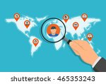 pointer pins on the map with... | Shutterstock .eps vector #465353243