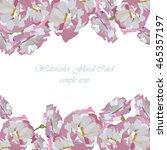watercolor flowers card vector. ... | Shutterstock .eps vector #465357197
