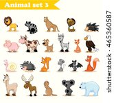 set of cute cartoon animals | Shutterstock .eps vector #465360587