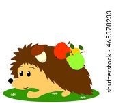 hedgehog carries apples and... | Shutterstock .eps vector #465378233