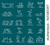 sports thin line vector icons... | Shutterstock .eps vector #465385397