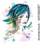 portrait of a girl with a... | Shutterstock . vector #465386087