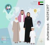 arab family in national dress ...   Shutterstock .eps vector #465391397