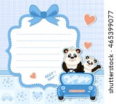 daddy and baby panda in a blue... | Shutterstock . vector #465399077