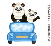 daddy and baby panda in a blue... | Shutterstock . vector #465399083