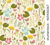 seamless pattern with floral... | Shutterstock .eps vector #465436367