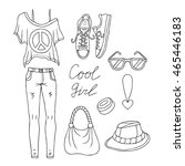hand drawn doodle set of female ... | Shutterstock .eps vector #465446183