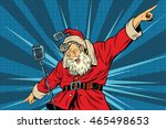 santa claus superstar singer on ... | Shutterstock .eps vector #465498653