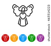 web line icon. angel with heart ... | Shutterstock .eps vector #465514223