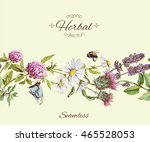 vector herbal seamless... | Shutterstock .eps vector #465528053