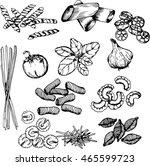 vector hand drawn ink pasta set ... | Shutterstock .eps vector #465599723