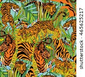 tigers in the jungle background | Shutterstock .eps vector #465625217