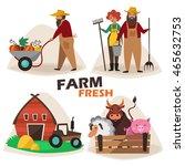 farm. collection. cartoon.... | Shutterstock .eps vector #465632753