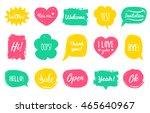 vector hand drawn set of speech ... | Shutterstock .eps vector #465640967
