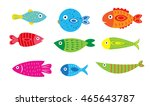 cartoon baby fish set  vector... | Shutterstock .eps vector #465643787
