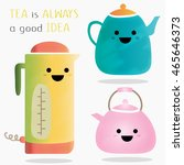 Cute Kettles Set. Teapot With...