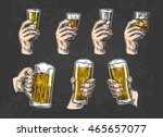 male hand holding a glasses... | Shutterstock .eps vector #465657077