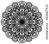 black outline flower mandala.... | Shutterstock .eps vector #465667913