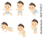 cute baby 6 pose of mouth | Shutterstock .eps vector #465715517