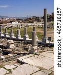 Small photo of IZMIR, TURKEY - April 28, 2012: Ruins of Ancient city Smyrna in a summer day. Izmir, Turkey