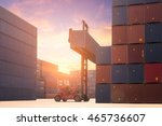 forklift truck lifting cargo... | Shutterstock . vector #465736607