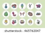 happy easter icons set eps10 | Shutterstock .eps vector #465762047
