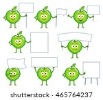 set of cartoon green apple... | Shutterstock .eps vector #465764237
