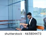 entrepreneur smiling man  puts... | Shutterstock . vector #465804473
