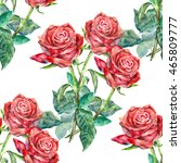 seamless pattern red rose... | Shutterstock . vector #465809777