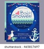 nautical baby shower card...   Shutterstock .eps vector #465817697