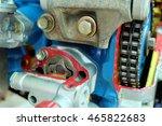 Closeup Car Engine Pulley Driv...