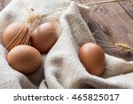 Chicken Eggs On A Linen Napkin