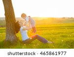 beautiful young woman with boy... | Shutterstock . vector #465861977