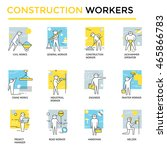 construction workers set  thin... | Shutterstock .eps vector #465866783