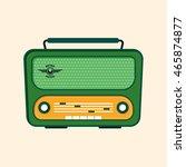 green retro radio icon. flat... | Shutterstock .eps vector #465874877