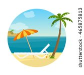 lounge on the beach under a... | Shutterstock .eps vector #465875813