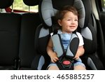 boy sitting in a car in safety... | Shutterstock . vector #465885257