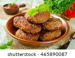 homemade cutlets with oatmeal... | Shutterstock . vector #465890087