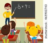happy young male teacher... | Shutterstock .eps vector #465903743